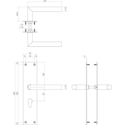Intersteel deurklink Rhenen op schild profielcilinder 55 mm mat zwart - Technische tekening