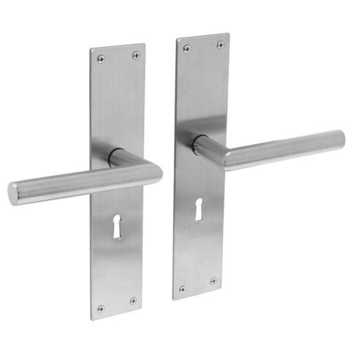 Intersteel deurklink Rhenen op schild sleutelgat 56 mm INOX geborsteld