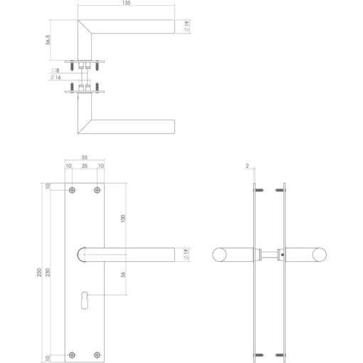 Intersteel deurklink Rhenen op schild sleutelgat 56 mm mat zwart - Technische tekening