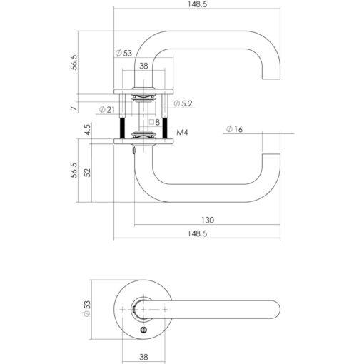 Intersteel deurklink Rond diameter 16 mm slank op rozet INOX geborsteld - Technische tekening