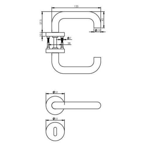 Intersteel deurklink Rond met rozet sleutelgat INOX geborsteld - Technische tekening
