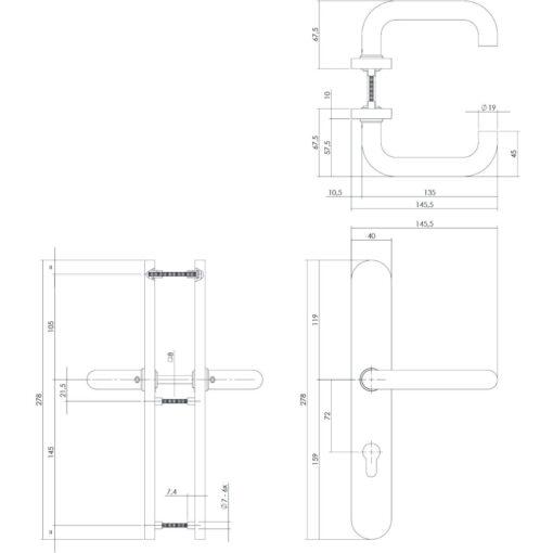 Intersteel deurklink Rond op XL schild profielcilindergat 72 mm INOX geborsteld - Technische tekening