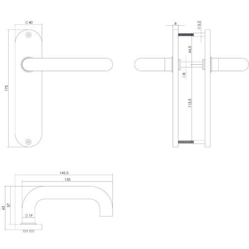 Intersteel deurklink Rond op kortschild blind INOX geborsteld - Technische tekening