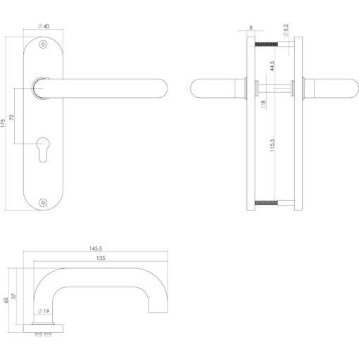 Intersteel deurklink Rond op kortschild profielcilindergat 72 mm INOX geborsteld - Technische tekening