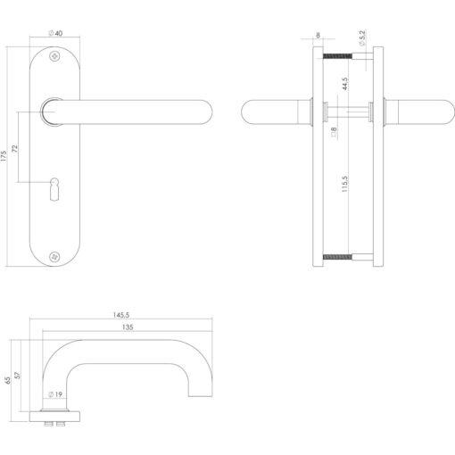 Intersteel deurklink Rond op kortschild sleutelgat 72 mm INOX geborsteld - Technische tekening