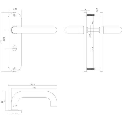 Intersteel deurklink Rond op kortschild toilet-/badkamersluiting 63 mm links INOX geborsteld - Technische tekening