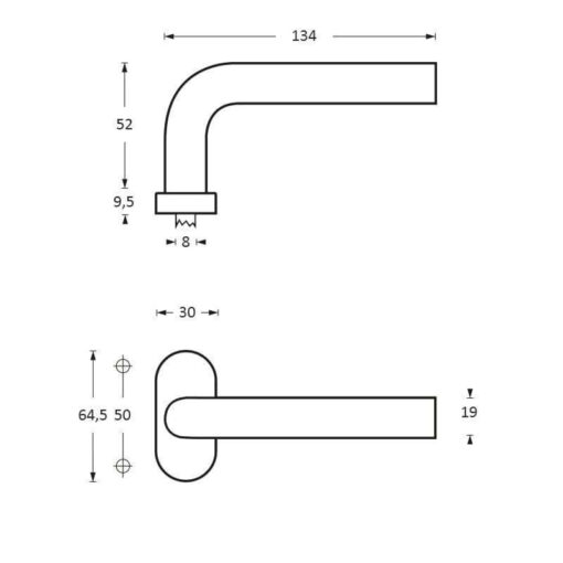 Intersteel deurklink Rond op ovaal rozet INOX geborsteld - Technische tekening