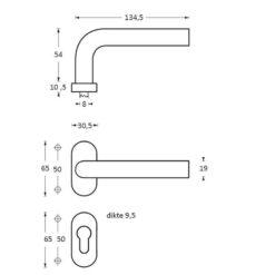 Intersteel deurklink Rond op ovaal rozet profielcilindergat INOX geborsteld - Technische tekening