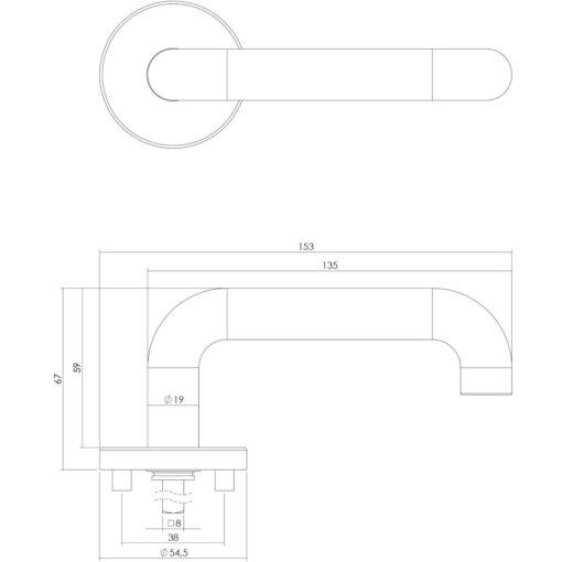 Intersteel deurklink Rond op rozet EN1906/4 INOX geborsteld - Technische tekening