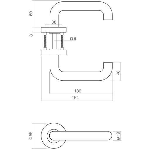 Intersteel deurklink Rond op rozet EN1906/4 sleutelgat INOX geborsteld - Technische tekening