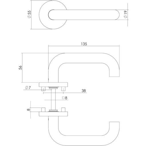 Intersteel deurklink Rond op rozet INOX geborsteld - Technische tekening