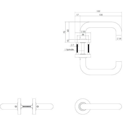 Intersteel deurklink Rond op rozet met nokken 7 mm met veer INOX geborsteld - Technische tekening