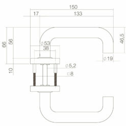 Intersteel deurklink Rond op rozet met ring met veer INOX geborsteld - Technische tekening