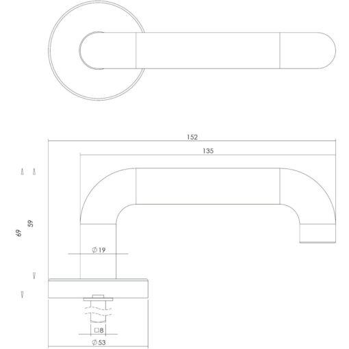 Intersteel deurklink Rond op rozet met veer INOX geborsteld - Technische tekening