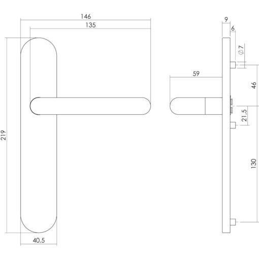 Intersteel deurklink Rond op schild blind INOX geborsteld - Technische tekening