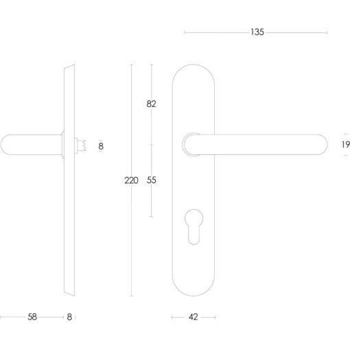 Intersteel deurklink Rond op schild profielcilindergat 55 mm INOX geborsteld - Technische tekening