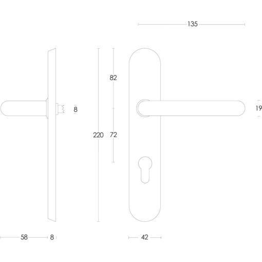 Intersteel deurklink Rond op schild profielcilindergat 72 mm INOX geborsteld - Technische tekening
