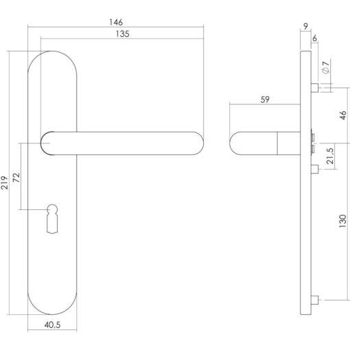 Intersteel deurklink Rond op schild sleutelgat 72 mm INOX geborsteld - Technische tekening