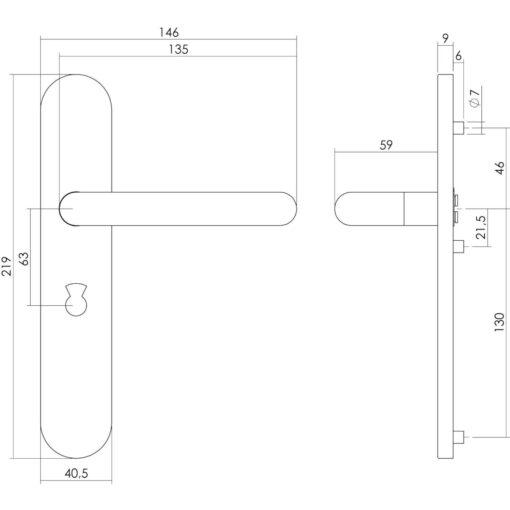 Intersteel deurklink Rond op schild toilet-/badkamersluiting 63 mm INOX geborsteld - Technische tekening