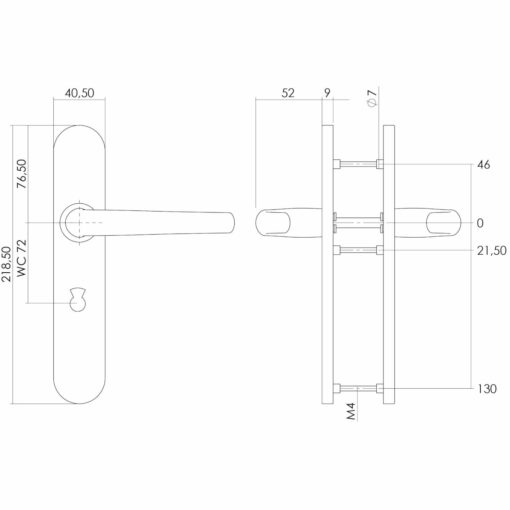 Intersteel deurklink Sabel op schild toilet-/badkamersluiting 72 mm INOX geborsteld - Technische tekening