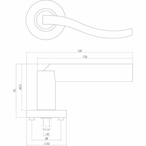 Intersteel deurklink Silvana op rozet chroom - Technische tekening