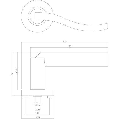 Intersteel deurklink Silvana op rozet toilet-/badkamersluiting chroom - Technische tekening