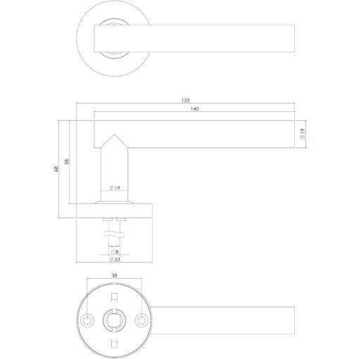 Intersteel deurklink Staf op rozet net ring met veer INOX geborsteld - Technische tekening