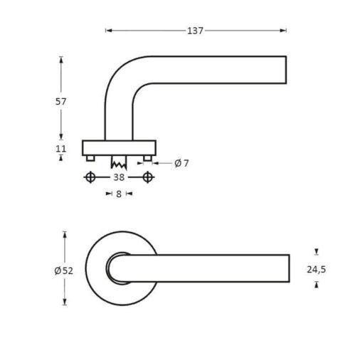 Intersteel deurklink Superior op rozet INOX geborsteld - Technische tekening
