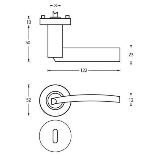 Intersteel deurklink Sylvia op rozet sleutelgat chroom - Technische tekening
