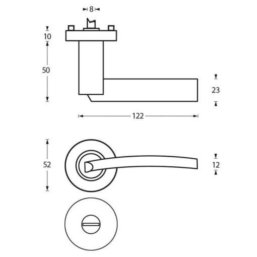 Intersteel deurklink Sylvia op rozet toilet-/badkamersluiting chroom - Technische tekening