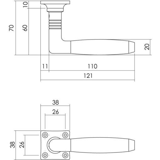 Intersteel deurklink Ton 400 met vierkant rozet nikkel mat/ebbenhout - Technische tekening