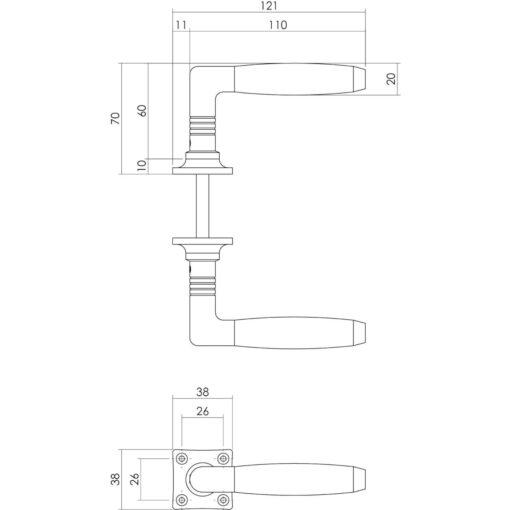 Intersteel deurklink Ton Basic met vierkant rozet nikkel - Technische tekening