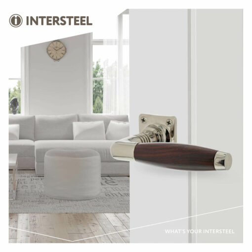 Intersteel deurklink Ton Palissander met vierkant rozet nikkel - Sfeerbeeld