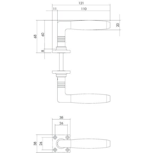 Intersteel deurklink Ton Palissander met vierkant rozet nikkel - Technische tekening