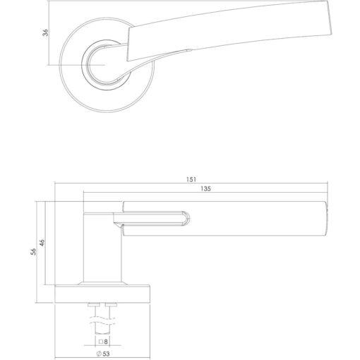 Intersteel deurklink Trudy op rozet met ring met veer INOX geborsteld - Technische tekening