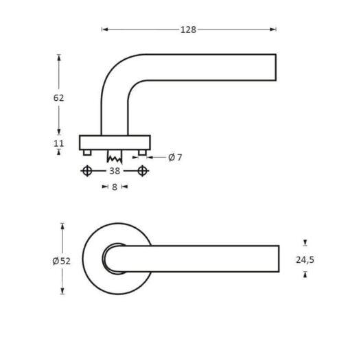 Intersteel deurklink Unique op rozet INOX geborsteld - Technische tekening