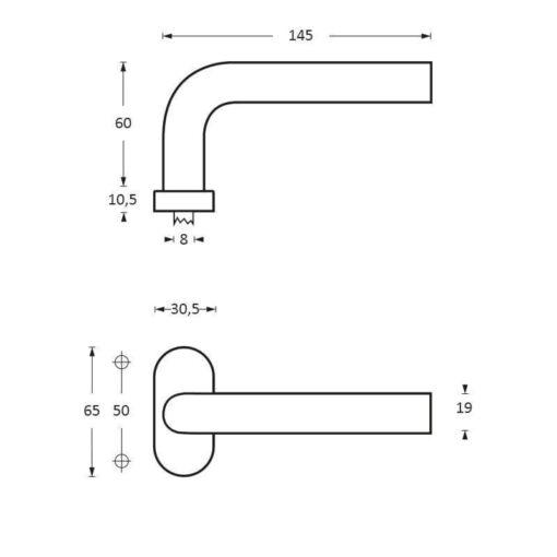 Intersteel deurklink Verkropt op ovaal rozet INOX geborsteld - Technische tekening