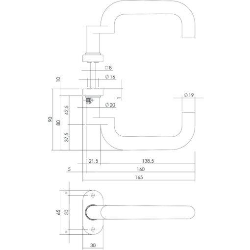 Intersteel deurklink Verlengd op ovaal rozet met ring INOX geborsteld - Technische tekening