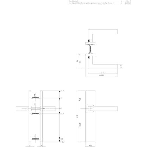 Intersteel deurklink Vierkant op rechthoek schild blind INOX geborsteld - Technische tekening