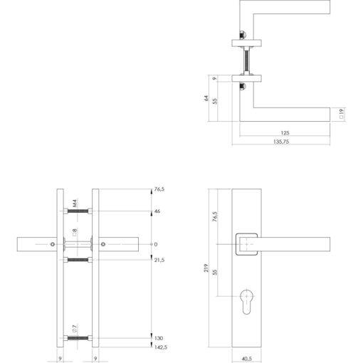 Intersteel deurklink Vierkant op rechthoekig schild profielcilindergat 55 mm INOX geborsteld - Technische tekening