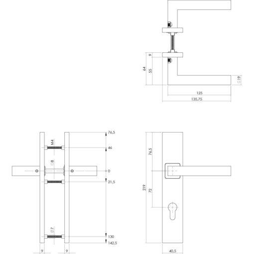 Intersteel deurklink Vierkant op rechthoekig schild profielcilindergat 72 mm INOX geborsteld - Technische tekening