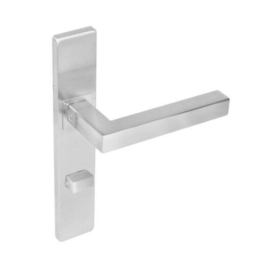 Intersteel deurklink Vierkant op rechthoekig schild toilet-/badkamersluiting 63 mm INOX geborsteld