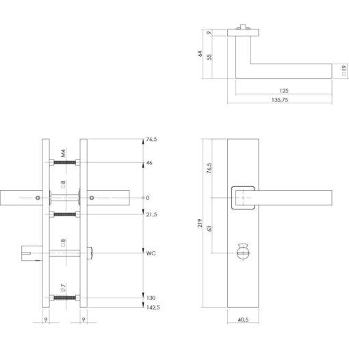 Intersteel deurklink Vierkant op rechthoekig schild toilet-/badkamersluiting 63 mm INOX geborsteld - Technische tekening