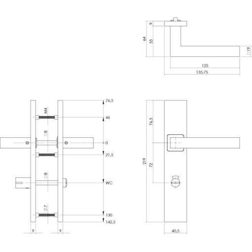 Intersteel deurklink Vierkant op rechthoekig schild toilet-/badkamersluiting 72 mm INOX geborsteld - Technische tekening