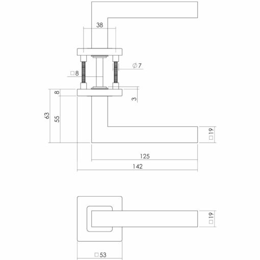 Intersteel deurklink Vierkant op vierkant rozet INOX geborsteld - Technische tekening
