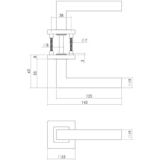 Intersteel deurklink Vierkant op vierkant rozet sleutelgat INOX geborsteld - Technische tekening