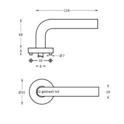 Intersteel deurklink Vlinder op rozet met 7 mm nok INOX geborsteld - Technische tekening