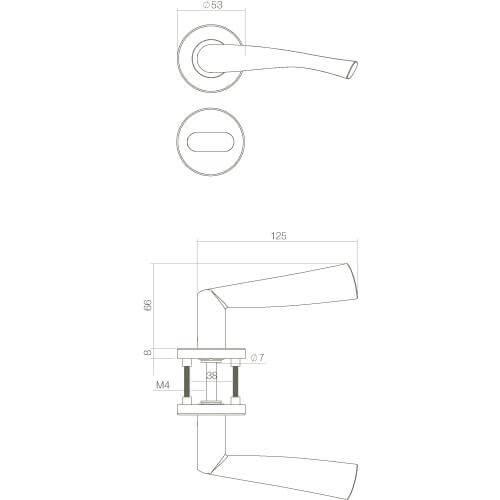 Intersteel deurklink Vlinder op rozet met 7 mm nok toilet-/badkamersluiting INOX geborsteld - Technische tekening