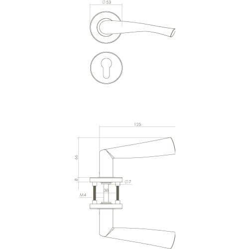 Intersteel deurklink Vlinder rozet profielcilindergat INOX geborsteld - Technische tekening