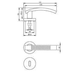 Intersteel deurklink William op rozet sleutelgat nikkel mat - Technische tekening